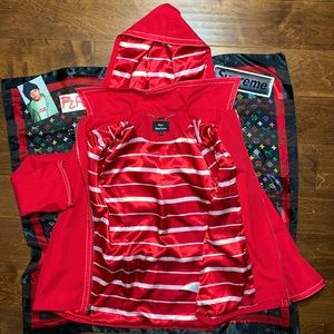 Oversized Red Jacket * Red White Pinstripe Lining